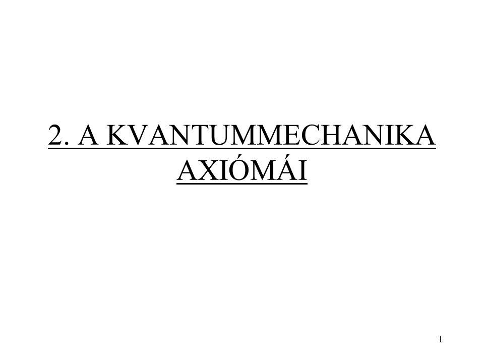 3. axióma Az N számú részecskéből álló rendszer állapotát a állapotfüggvény jellemzi. 62