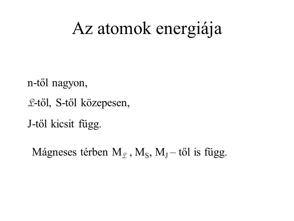 Az atomok energiája n-től nagyon, L -től, S-től közepesen, J-től kicsit függ. Mágneses térben M L, M S, M J – től is függ.