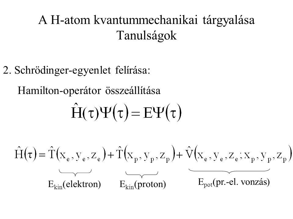 A H-atom kvantummechanikai tárgyalása Tanulságok 2. Schrödinger-egyenlet felírása: Hamilton-operátor összeállítása E kin (elektron)E kin (proton) E po