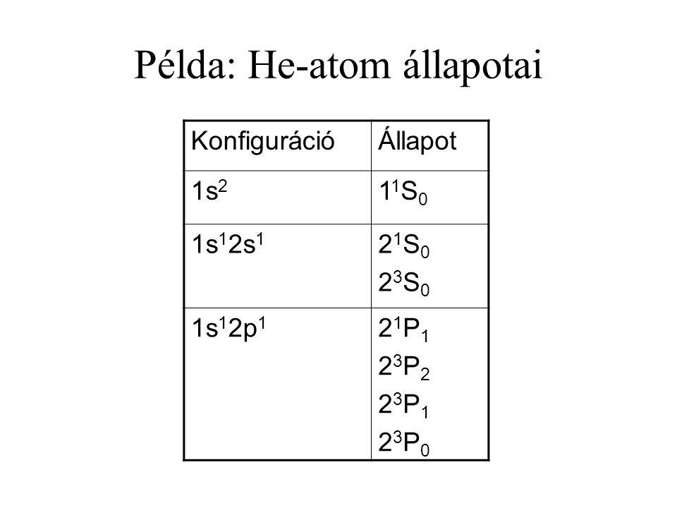 Példa: He-atom állapotai KonfigurációÁllapot 1s 2 11S011S0 1s 1 2s 1 21S023S021S023S0 1s 1 2p 1 21P123P223P123P021P123P223P123P0