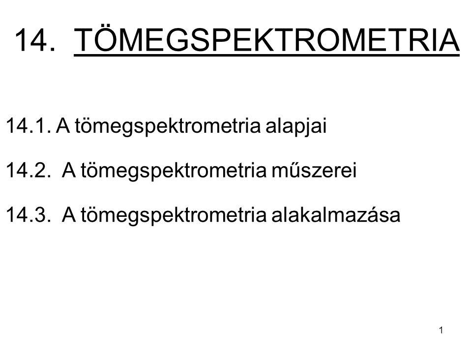 14.1. A tömegspektrometria alapjai 14.2. A tömegspektrometria műszerei 14.3. A tömegspektrometria alakalmazása 14. TÖMEGSPEKTROMETRIA 1