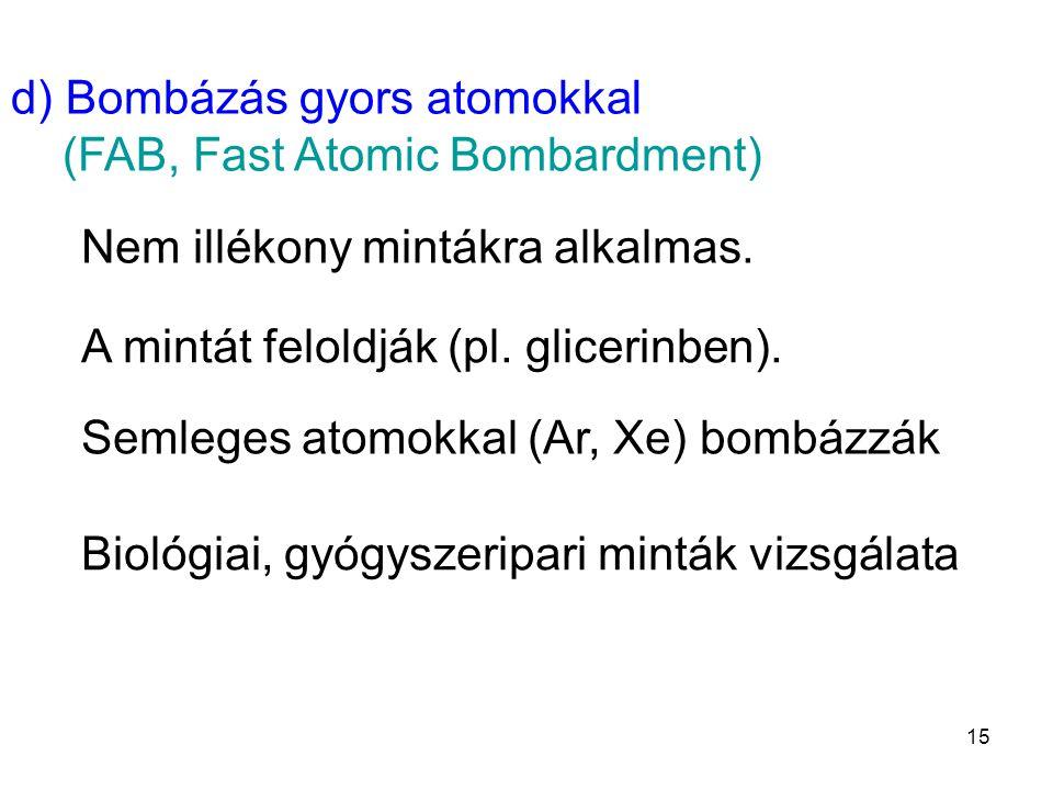 d) Bombázás gyors atomokkal (FAB, Fast Atomic Bombardment) Nem illékony mintákra alkalmas. A mintát feloldják (pl. glicerinben). Semleges atomokkal (A