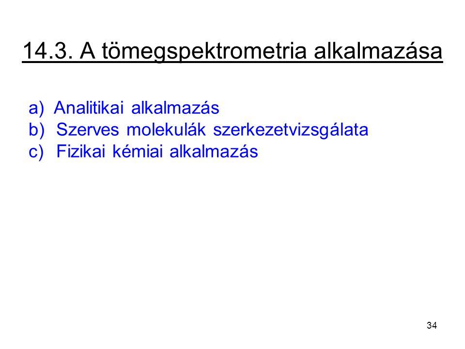 14.3. A tömegspektrometria alkalmazása a) Analitikai alkalmazás b) Szerves molekulák szerkezetvizsgálata c) Fizikai kémiai alkalmazás 34