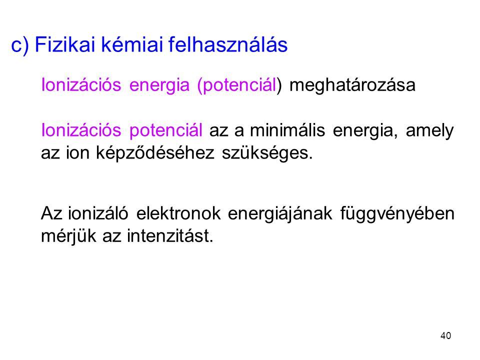 c) Fizikai kémiai felhasználás Ionizációs energia (potenciál) meghatározása Ionizációs potenciál az a minimális energia, amely az ion képződéséhez szü