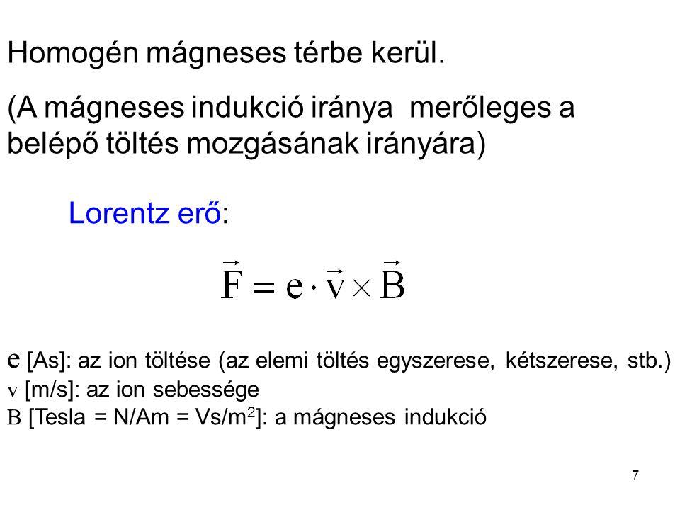 Homogén mágneses térbe kerül. (A mágneses indukció iránya merőleges a belépő töltés mozgásának irányára) Lorentz erő: e [As]: az ion töltése (az elemi