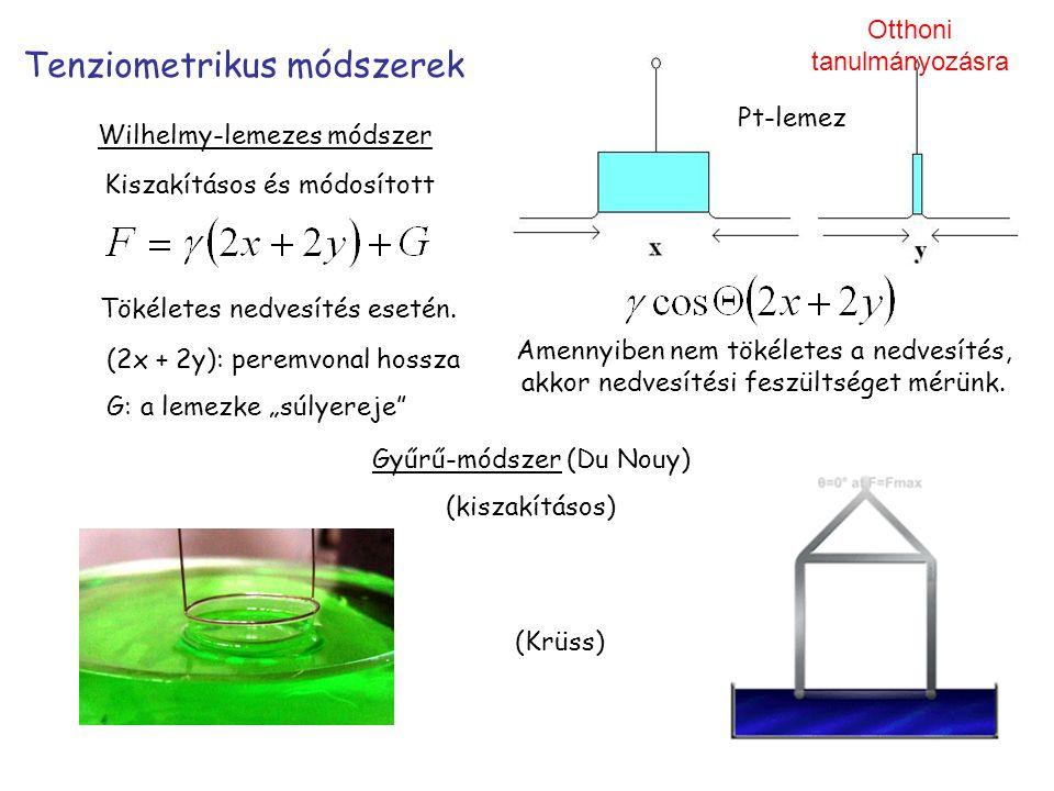 Tenziometrikus módszerek Wilhelmy-lemezes módszer Amennyiben nem tökéletes a nedvesítés, akkor nedvesítési feszültséget mérünk. Pt-lemez (2x + 2y): pe
