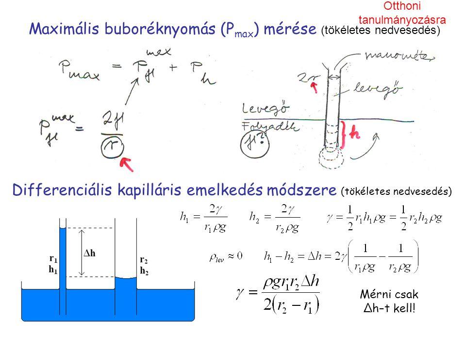 Maximális buboréknyomás (P max ) mérése (tökéletes nedvesedés) Differenciális kapilláris emelkedés módszere (tökéletes nedvesedés) Mérni csak Δh–t kel
