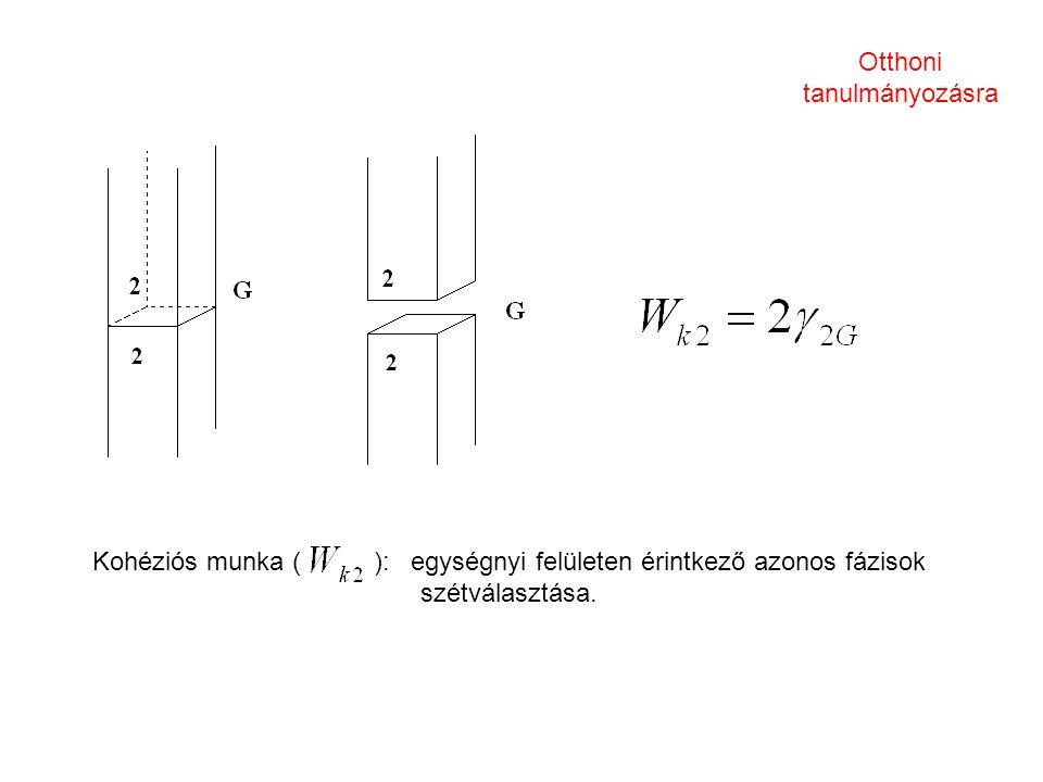 Kohéziós munka ( ): egységnyi felületen érintkező azonos fázisok szétválasztása. Otthoni tanulmányozásra