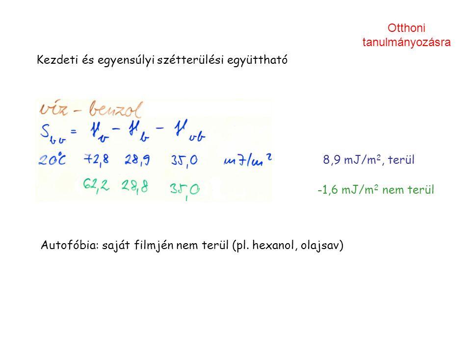Kezdeti és egyensúlyi szétterülési együttható Autofóbia: saját filmjén nem terül (pl. hexanol, olajsav) 8,9 mJ/m 2, terül -1,6 mJ/m 2 nem terül Otthon