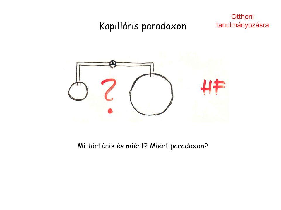 Kapilláris paradoxon Mi történik és miért? Miért paradoxon? Otthoni tanulmányozásra