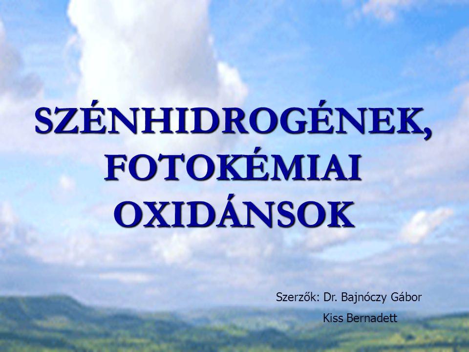 Szénhidrogén emisszió csökkentése A szénhidrogén emisszió szoros összefüggésben van a fotokémiai oxidánsok az ózon és peroxi-acilnitrátok képződésével => a szénhidrogén emisszió csökkentésével jelentősen korlátozható ezen szennyezők képződése is Legnagyobb forrás: nem tökéletes égés Szénhidrogén koncentráció: 1.
