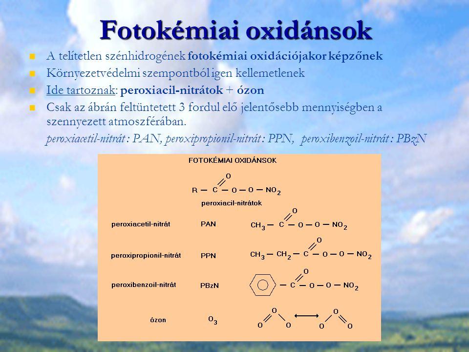 Szénhidrogének, fotokémiai oxidánsok hatása Növényekre Ózon: gázcserenyílásokon keresztül jut be a növénybe A sejtközi térben és a sejtalkotók reakciójakor során szerves gyökök képződnek, amelyek károsítják a proteineket, sejtmembránt.