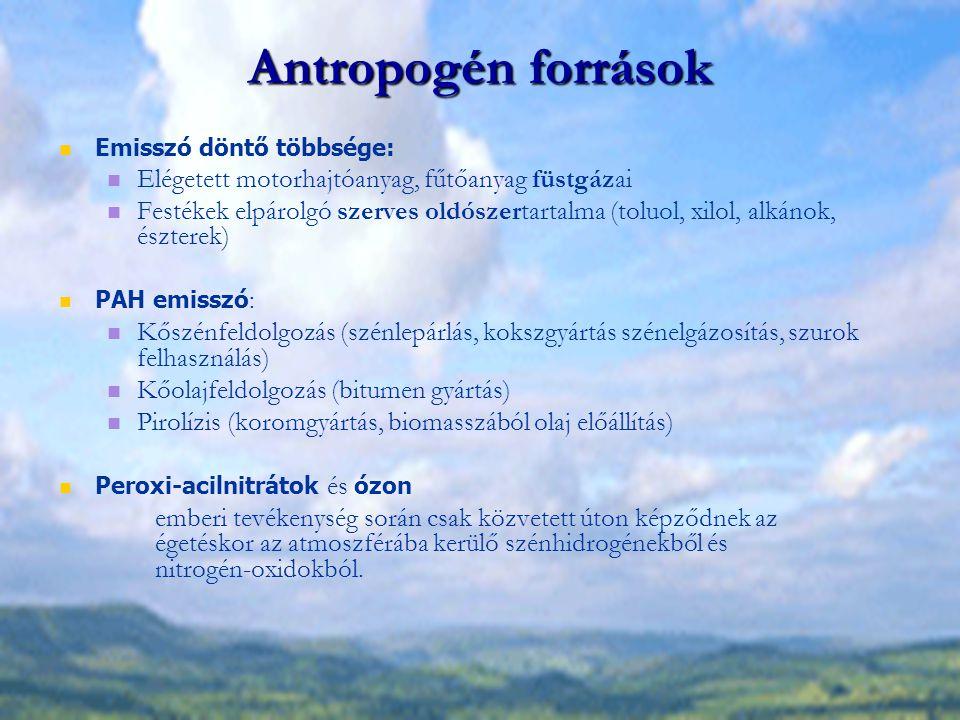 Szénhidrogének, fotokémiai oxidánsok hatása Emberre / emlősökre Az alifás szénhidrogének nem, de az aromás vegyületek rendkívül toxikusak (troposzférikus koncentráció szint) Legveszélyesebb : A gőzhalmazállapotú aromások közül a a benzol (vérképzőszervi méreg) A policiklusos aromás vegyületek közül a benz(a)pirén (karcinogén, rákkeltő) BENZOL: Motorhajtóanyagok elégetésekor kerül az atmoszférába, az oktánszám növelési technológiák (aromatizálás, alkilezés) során.
