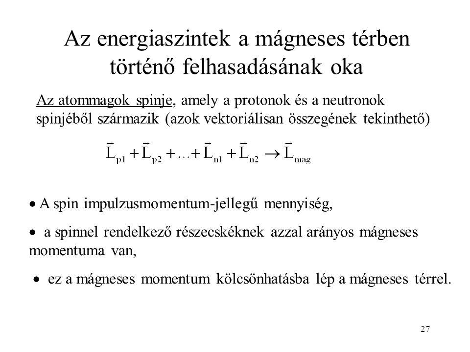 27 Az energiaszintek a mágneses térben történő felhasadásának oka Az atommagok spinje, amely a protonok és a neutronok spinjéből származik (azok vektoriálisan összegének tekinthető)  A spin impulzusmomentum-jellegű mennyiség,  a spinnel rendelkező részecskéknek azzal arányos mágneses momentuma van,  ez a mágneses momentum kölcsönhatásba lép a mágneses térrel.