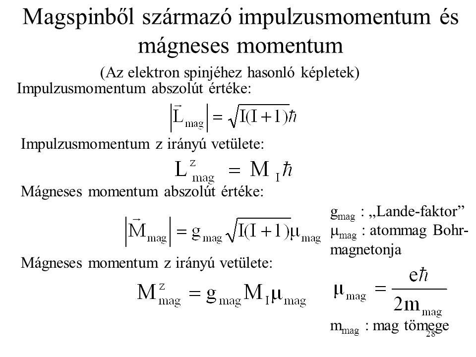 """28 Magspinből származó impulzusmomentum és mágneses momentum (Az elektron spinjéhez hasonló képletek) Impulzusmomentum abszolút értéke: Mágneses momentum abszolút értéke: Mágneses momentum z irányú vetülete: Impulzusmomentum z irányú vetülete: g mag : """"Lande-faktor  mag : atommag Bohr- magnetonja m mag : mag tömege"""