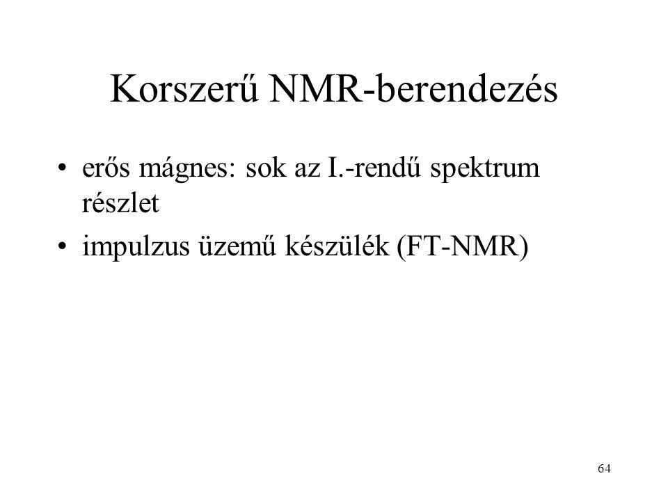 64 Korszerű NMR-berendezés erős mágnes: sok az I.-rendű spektrum részlet impulzus üzemű készülék (FT-NMR)