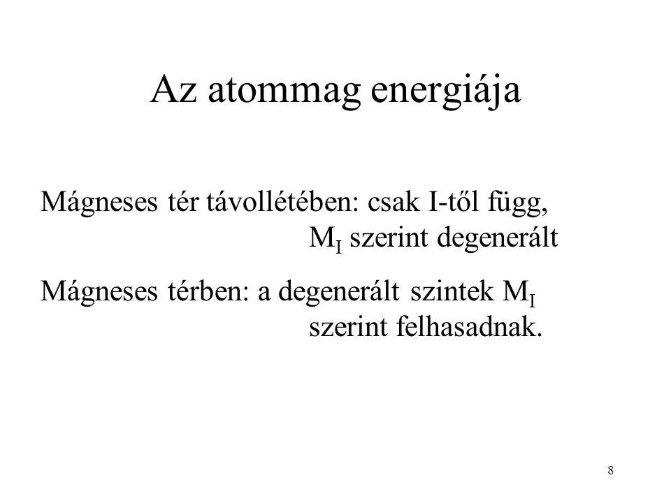8 Az atommag energiája Mágneses tér távollétében: csak I-től függ, M I szerint degenerált Mágneses térben: a degenerált szintek M I szerint felhasadnak.