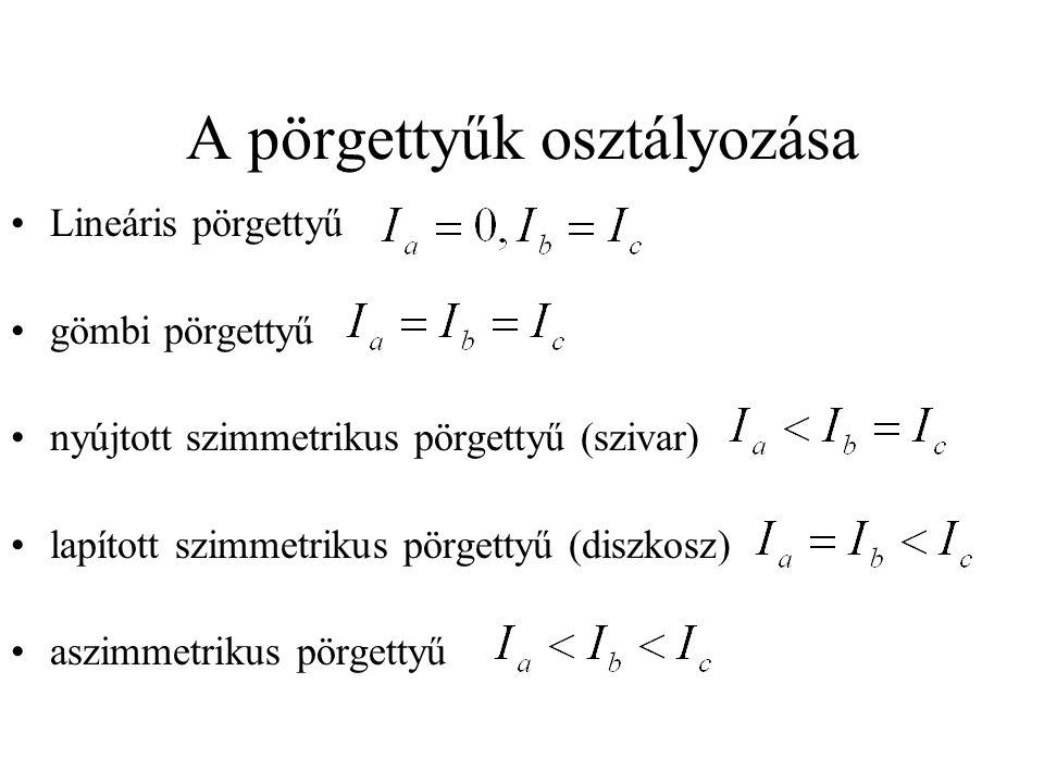 A pörgettyűk osztályozása Lineáris pörgettyű gömbi pörgettyű nyújtott szimmetrikus pörgettyű (szivar) lapított szimmetrikus pörgettyű (diszkosz) aszimmetrikus pörgettyű
