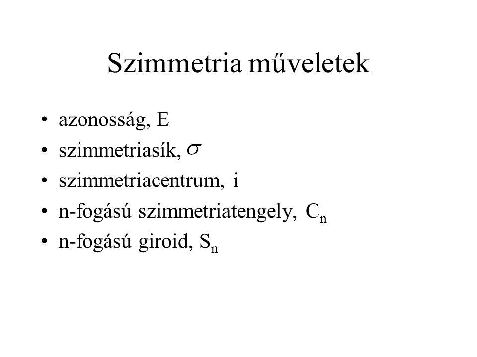 A formaldehid két molekulapályája E  xz  yz C 2 (b)+1+1+1+1 (c)+1-1+1-1
