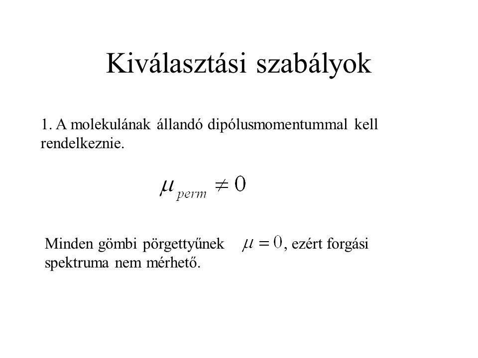 Kiválasztási szabályok 1.A molekulának állandó dipólusmomentummal kell rendelkeznie.