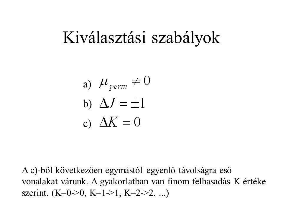 Kiválasztási szabályok a) b) c) A c)-ből következően egymástól egyenlő távolságra eső vonalakat várunk.