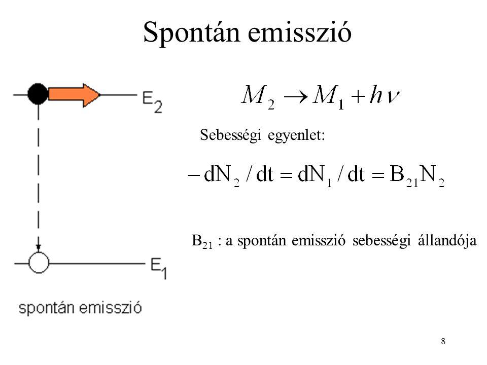 9 Stimulált emisszió Sebességi egyenlet: A 21 : a stimulált emisszió sebességi állandója A keletkező foton frekvenciája, iránya, polarizációja és fázisa megegyezik a stimulálóéval.