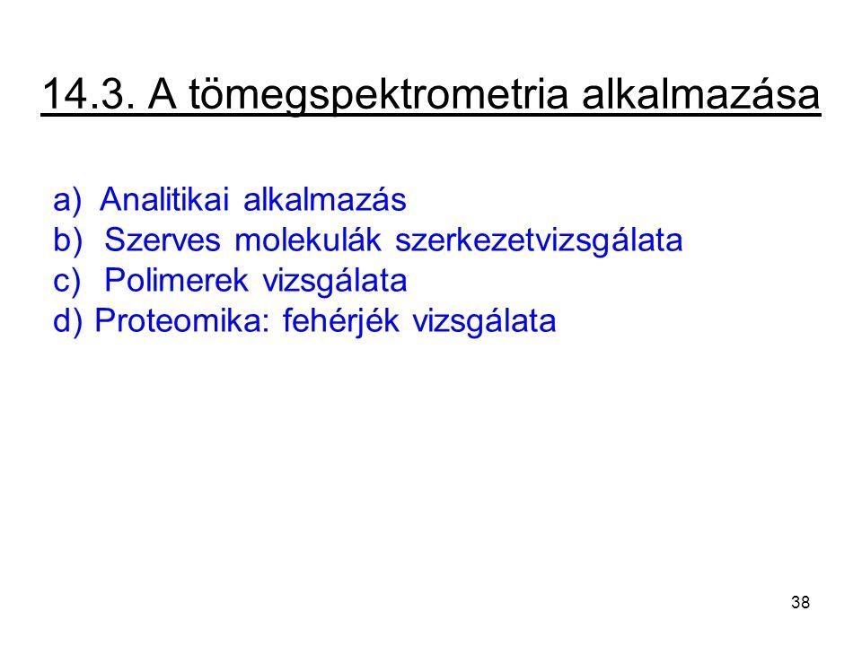 14.3. A tömegspektrometria alkalmazása a) Analitikai alkalmazás b) Szerves molekulák szerkezetvizsgálata c) Polimerek vizsgálata d) Proteomika: fehérj