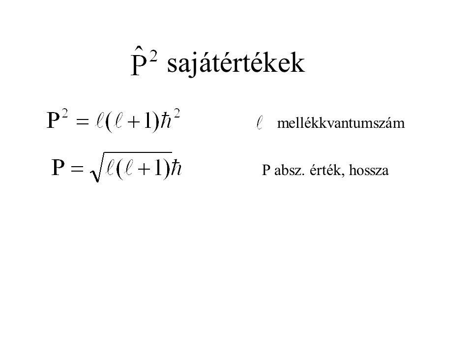 sajátértékek mellékkvantumszám P absz. érték, hossza