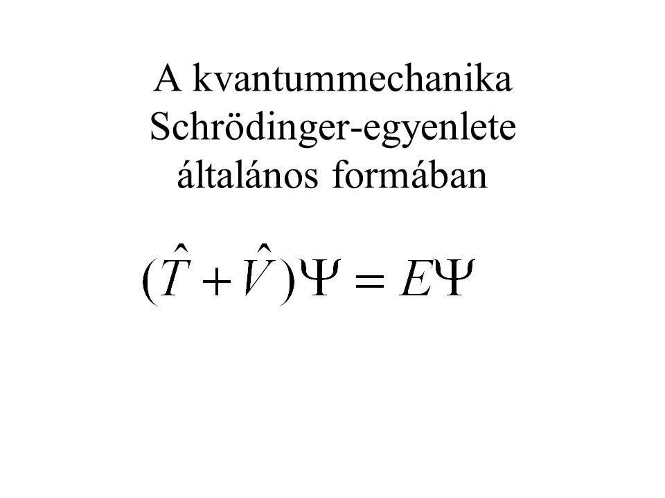 A hidrogénatom Schrödinger-egyenlete Megj.: alsó indexben e és p elektronra és protonra utal, e az elektron töltése (-1,602x10 -19 C), r az elektron protontól való távolsága, vákuum permittivitás (8,854x10 -12 Fm -1 ).