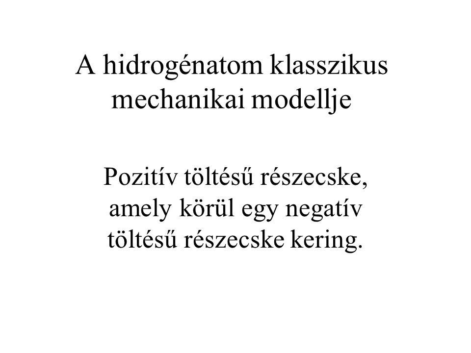 A hidrogénatom klasszikus mechanikai modellje Pozitív töltésű részecske, amely körül egy negatív töltésű részecske kering.