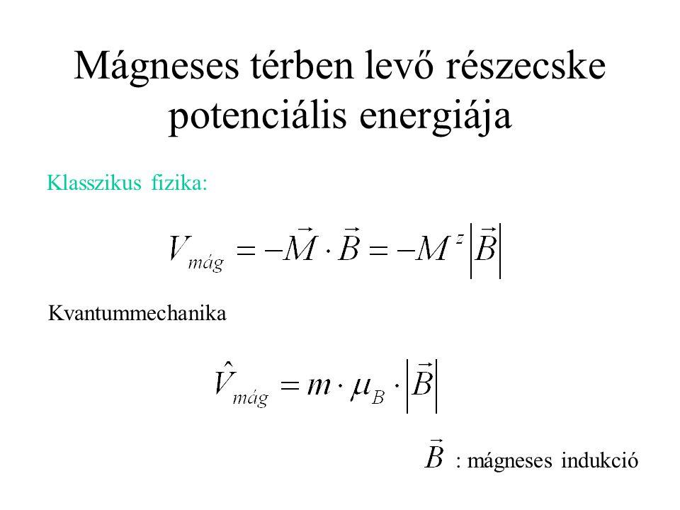 Mágneses térben levő részecske potenciális energiája Klasszikus fizika: Kvantummechanika : mágneses indukció