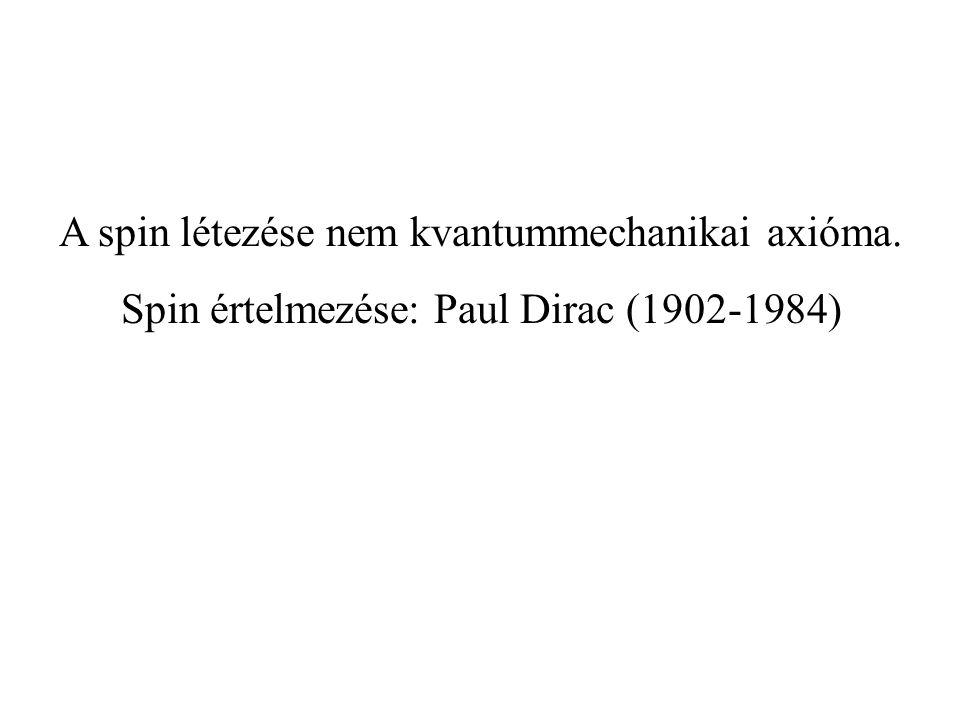 A spin létezése nem kvantummechanikai axióma. Spin értelmezése: Paul Dirac (1902-1984)