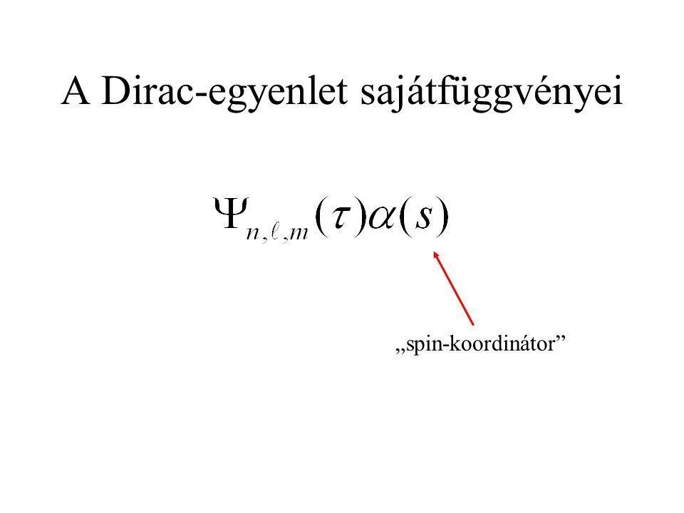 """A Dirac-egyenlet sajátfüggvényei """"spin-koordinátor"""""""