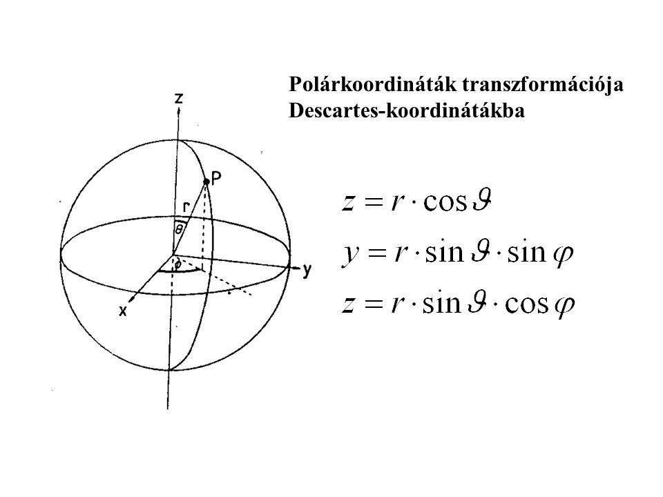 Polárkoordináták transzformációja Descartes-koordinátákba