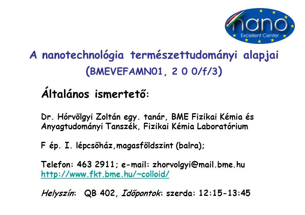 Felkészülés: Az előadások vázlatos anyaga (amelyeket az előadáson kivetítek) hozzáférhető az intraneten: (ftp://oktatas.ch.bme.hu/oktatas/konyvek/fizkem/kollhz/).