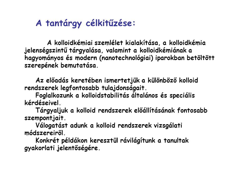 Történeti áttekintés: 1856: Faraday: aranyszol, Tyndall-jelenség 1860: Graham: a kolloidok elnevezése az enyv (κολλα) görög neve Az anyagok csoportosítása: - krisztalloidok (jól kristályosíthatók, diffúziójuk gyors) - kolloidok (nem kristályosíthatók, diffúziójuk lassú) A századforduló fő kérdései a kolloidokkal kapcsolatban: 1.