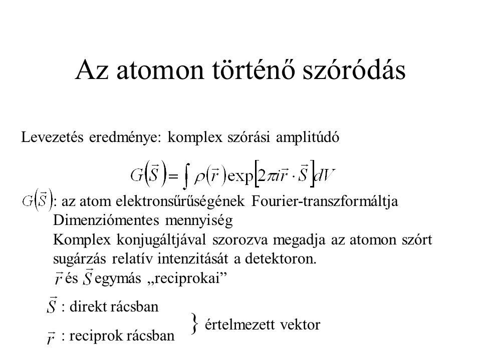 Az atomon történő szóródás Levezetés eredménye: komplex szórási amplitúdó : az atom elektronsűrűségének Fourier-transzformáltja Dimenziómentes mennyis