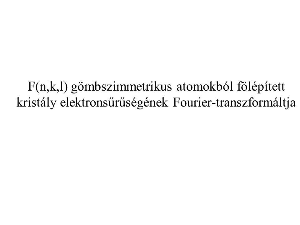 F(n,k,l) gömbszimmetrikus atomokból fölépített kristály elektronsűrűségének Fourier-transzformáltja