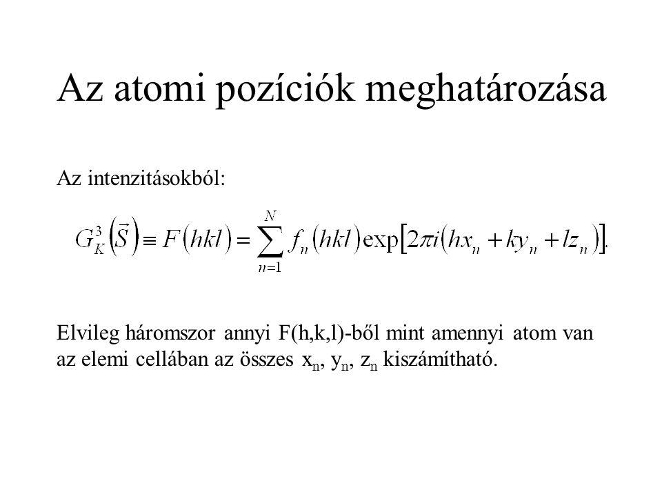 Az atomi pozíciók meghatározása Az intenzitásokból: Elvileg háromszor annyi F(h,k,l)-ből mint amennyi atom van az elemi cellában az összes x n, y n, z