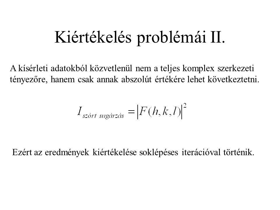 Kiértékelés problémái II. A kísérleti adatokból közvetlenül nem a teljes komplex szerkezeti tényezőre, hanem csak annak abszolút értékére lehet követk