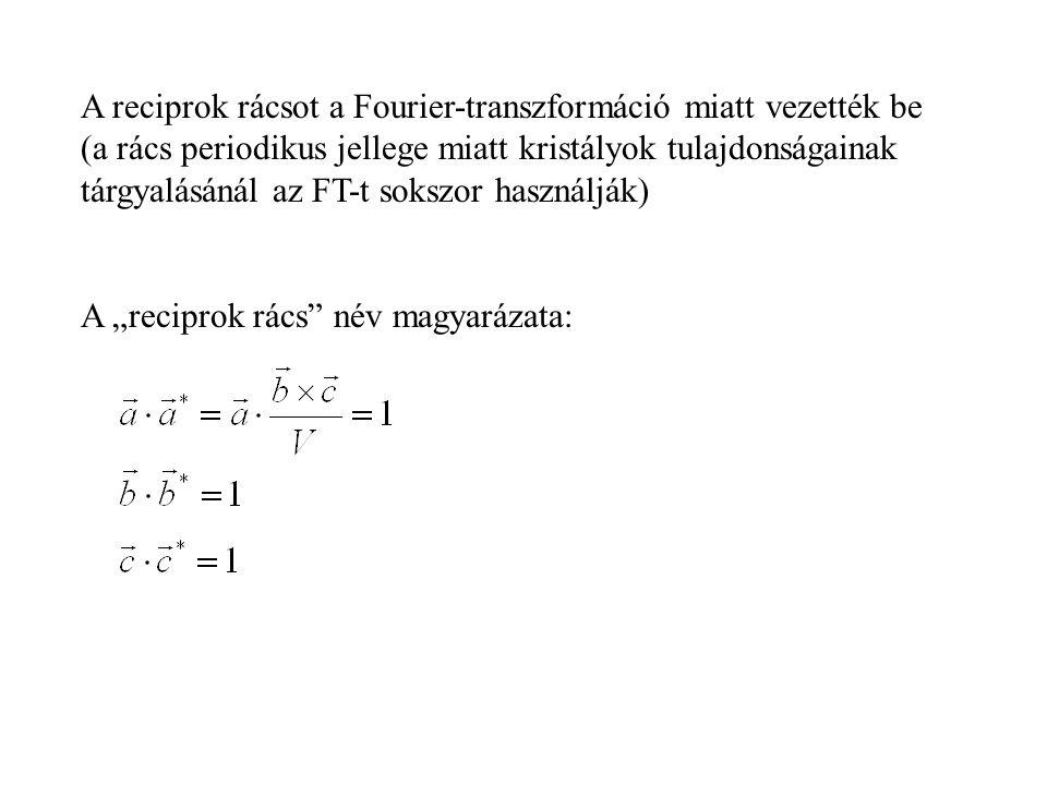A reciprok rácsot a Fourier-transzformáció miatt vezették be (a rács periodikus jellege miatt kristályok tulajdonságainak tárgyalásánál az FT-t sokszo