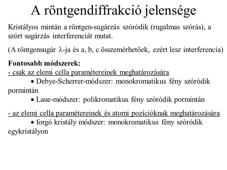 A röntgendiffrakció jelensége Kristályos mintán a röntgen-sugárzás szóródik (rugalmas szórás), a szórt sugárzás interferenciát mutat. (A röntgensugár