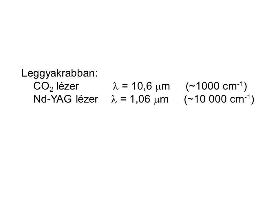 Leggyakrabban: CO 2 lézer = 10,6  m (~1000 cm -1 ) Nd-YAG lézer = 1,06  m (~10 000 cm -1 )