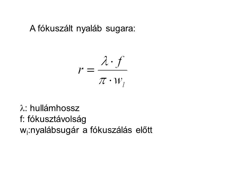 A fókuszált nyaláb sugara: : hullámhossz f: fókusztávolság w l :nyalábsugár a fókuszálás előtt