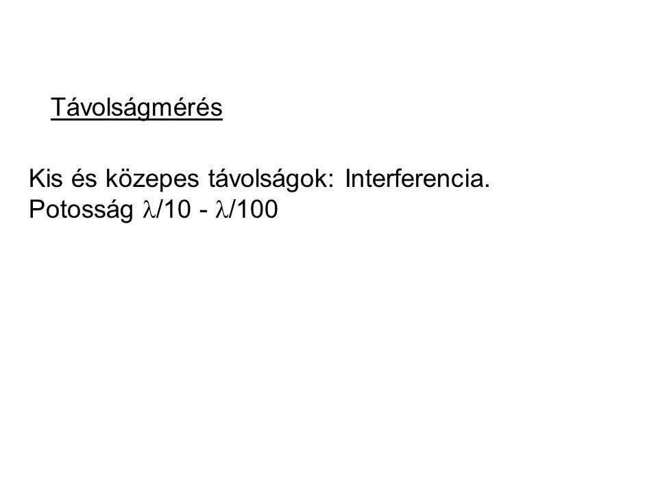 Távolságmérés Kis és közepes távolságok: Interferencia. Potosság /10 - /100