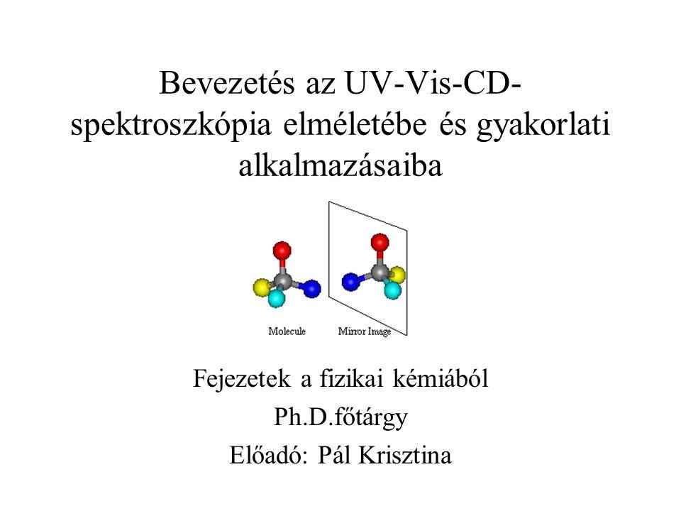 Bevezetés az UV-Vis-CD- spektroszkópia elméletébe és gyakorlati alkalmazásaiba Fejezetek a fizikai kémiából Ph.D.főtárgy Előadó: Pál Krisztina