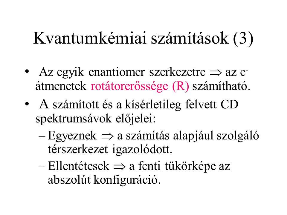 Kvantumkémiai számítások (3) Az egyik enantiomer szerkezetre  az e - átmenetek rotátorerőssége (R) számítható. A számított és a kísérletileg felvett