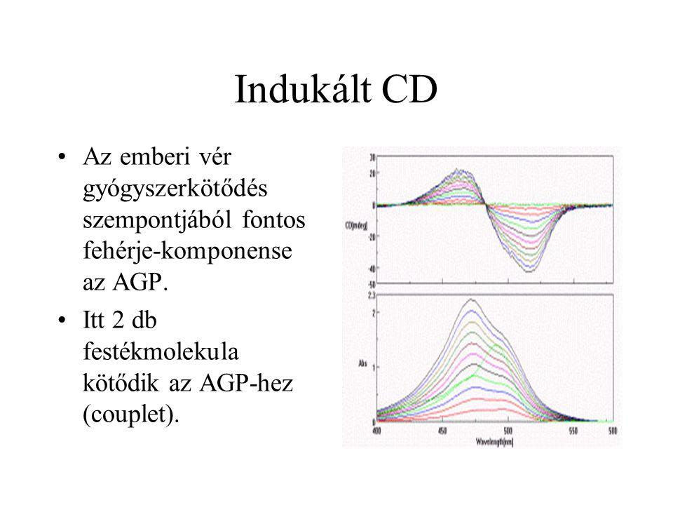 Indukált CD Az emberi vér gyógyszerkötődés szempontjából fontos fehérje-komponense az AGP. Itt 2 db festékmolekula kötődik az AGP-hez (couplet).