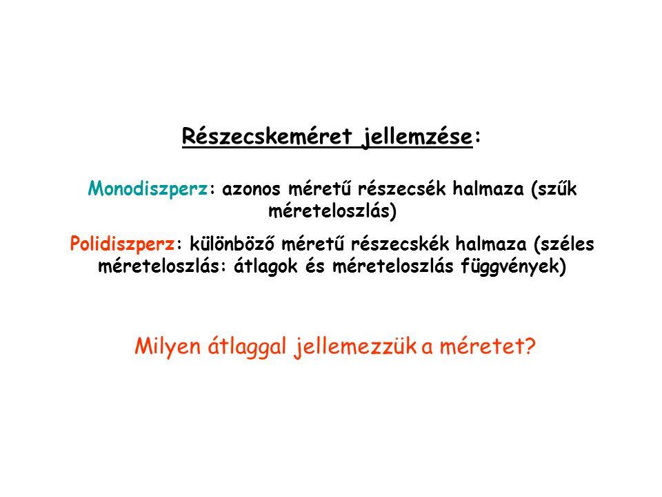 Részecskeméret jellemzése: Monodiszperz: azonos méretű részecsék halmaza (szűk méreteloszlás) Polidiszperz: különböző méretű részecskék halmaza (széle