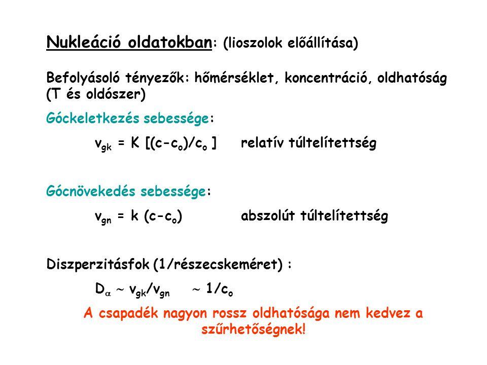 Nukleáció oldatokban : (lioszolok előállítása) Befolyásoló tényezők: hőmérséklet, koncentráció, oldhatóság (T és oldószer) Góckeletkezés sebessége: v gk = K [(c-c o )/c o ]relatív túltelítettség Gócnövekedés sebessége: v gn = k (c-c o )abszolút túltelítettség Diszperzitásfok (1/részecskeméret) : D   v gk /v gn  1/c o A csapadék nagyon rossz oldhatósága nem kedvez a szűrhetőségnek!